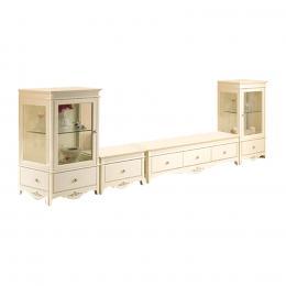 Bộ kệ tủ tivi Juliet tủ 1 hộc + tủ giữa + 2 tủ kính Jang In IYB-0311ACDLR 363,6 x 50 x 123,6 cm (Be)