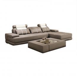Sofa cao cấp chữ L Juno Sofa 300 x 180 x 85 cm (Nâu xám) Tặng Bàn Trà Kính Cao Cấp